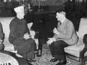 The Islamic Mufti of Jerusalem with his friend Adolph Hitler. One tried to aid the other to kill Jews.